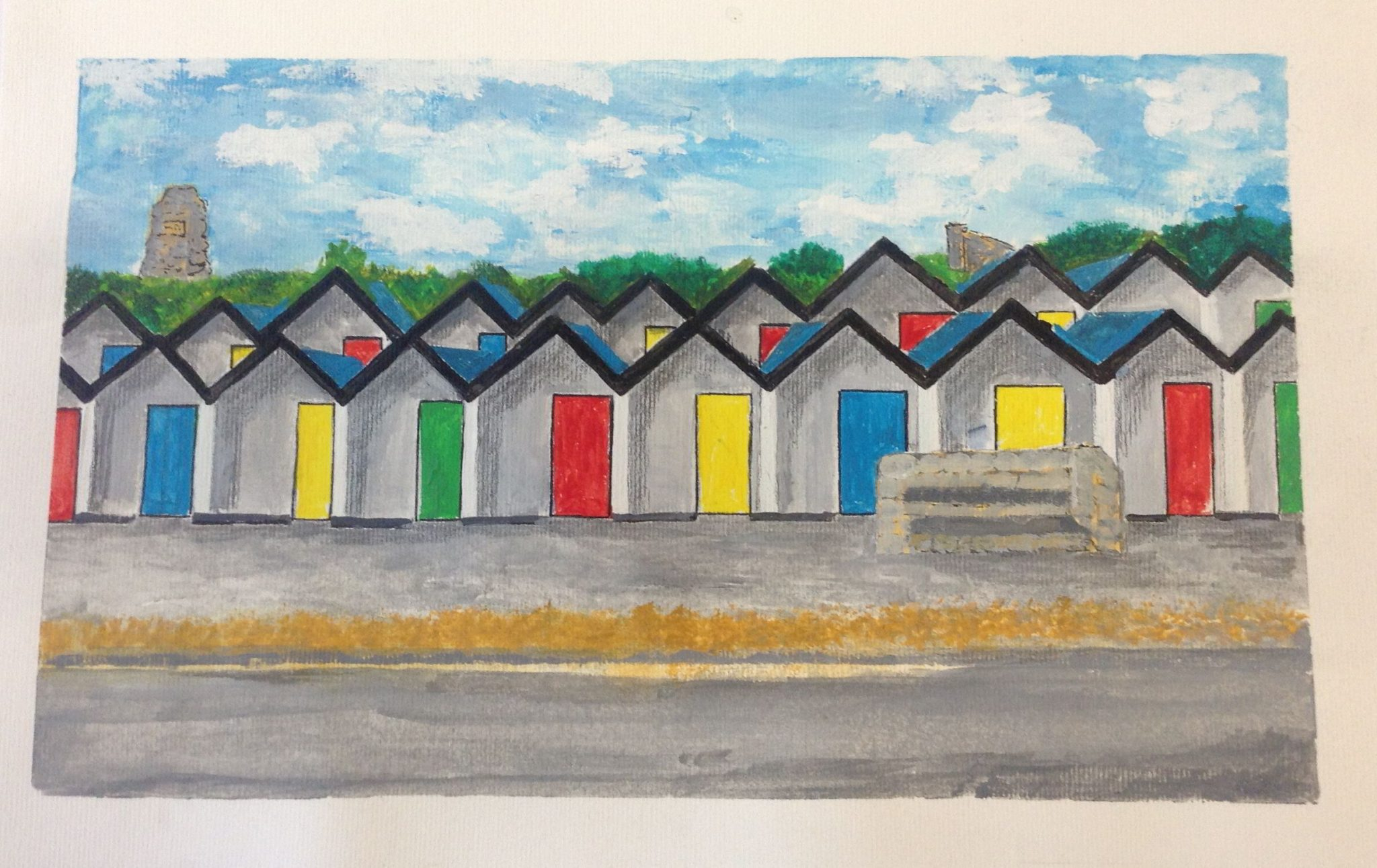 A watercolour painting of beach huts with colourful doors