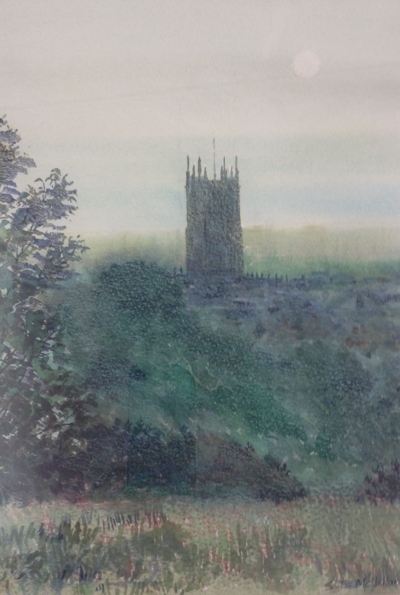 A watercolour painting of a church tower seen across misty fields